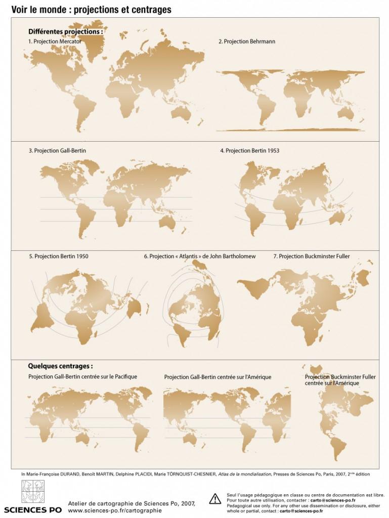 Carte du monde en différentes projections