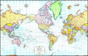 Carte du monde centrée sur les Amériques