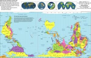 Carte du monde orientée au Sud et centrée sur l'Australie en projection Hobo-Dyer