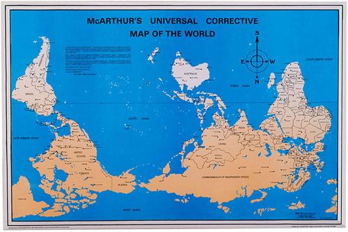 1ère carte du monde orientée au Sud (centrée sur l'Australie)