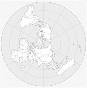 Carte du monde en projection polaire, orientée pour l'ex-union soviétique